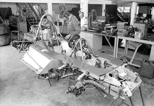 The Tyrrell team prepare the Tyrrell-Cosworth P34 in their factory. Formula One Features, Tyrrell Factory, Ockham, Kent, England, 1976.