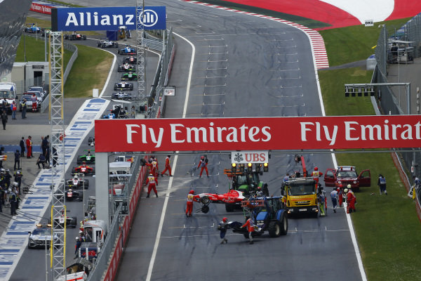 Kevin Ceccon (ITA) Arden International crashes at the start of the race at GP3 Series, Rd2, Spielberg, Austria, 19-21 June 2015.