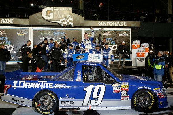 19-20 February 2015, Daytona Beach, Florida, USA Winner Tyler Reddick celebrates in Victory Lane ©2015, Michael L. Levitt LAT Photo USA