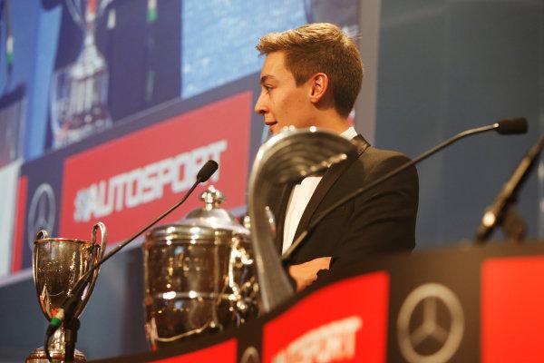 2014 Autosport Awards. Grosvenor House Hotel, Park Lane, London. Sunday 7 December 2014. George Russell wins the 2014 McLaren AUTOSPORT BRDC Award. World Copyright: Alastair Staley/LAT Photographic. ref: Digital Image _R6T9851