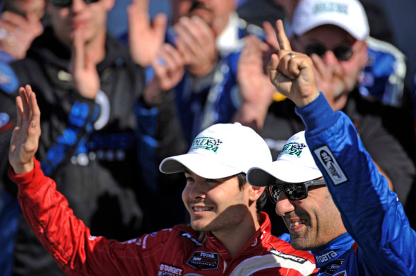 22-25 January, 2015, Daytona Beach, Florida USA Tony Kanaan and Kyle Larson. ?2015, F. Peirce Williams LAT Photo USA