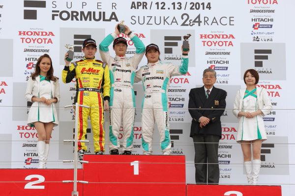2014 All-Japan F3 Championship Suzuka, Japan. 12th - 13th April 2014. Rd 1. Race 1 - Winner  Kenta Yamashita ( #36 PETRONAS TEAM TOM'S ) 2nd position Mitsunori Takaboshi ( #22 B-MAX Racing Team with NDDP ) 3rd position Takamoto Katsuata ( #1 PETRONAS TEAM TOM'S ) podium World Copyright: Yasushi Ishihara / LAT Photographic. Ref: 2014JF3_Rd1_006.JPG
