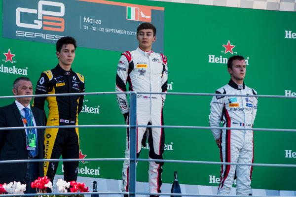2017 GP3 Series Round 6.  Autodromo Nazionale di Monza, Monza, Italy. Sunday 3 September 2017. Jack Aitken (GBR, ART Grand Prix), George Russell (GBR, ART Grand Prix), Anthoine Hubert (FRA, ART Grand Prix).  Photo: Zak Mauger/GP3 Series Media Service. ref: Digital Image _56I8897