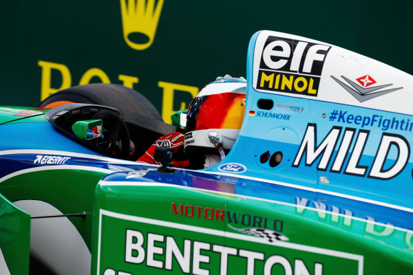 Spa Francorchamps, Belgium.  Sunday 27 August 2017. Mick Schumacher drives a Benetton B194 originally driven by his father Michael Schumacher in the 1994 World Championships. World Copyright: Glenn Dunbar/LAT Images  ref: Digital Image _31I6692