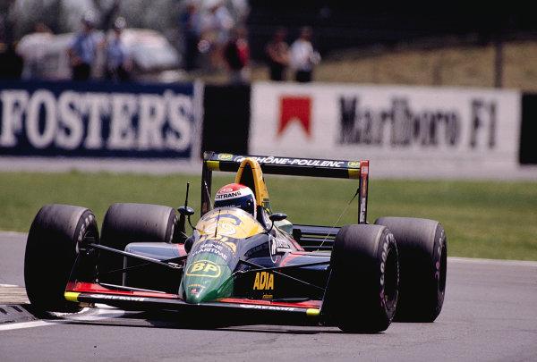 1989 British Grand Prix.Silverstone, England.14-16 July 1989.Eric Bernard (Larrousse/Lola LC89 Lamborghini).Ref-89 GB 25.World Copyright - LAT Photographic