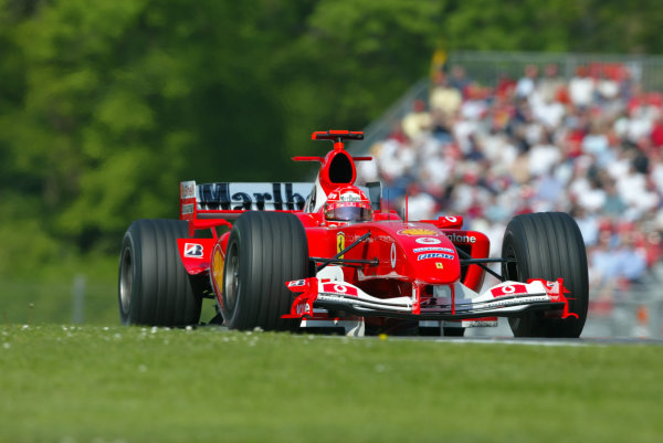 2004 San Marino Grand Prix-Saturday Qualifying,Imola, Italy.24th April 2004Michael Schumcaher, Ferrari F2004, action.World Copyright LAT Photographic.ref: Digital Image Only