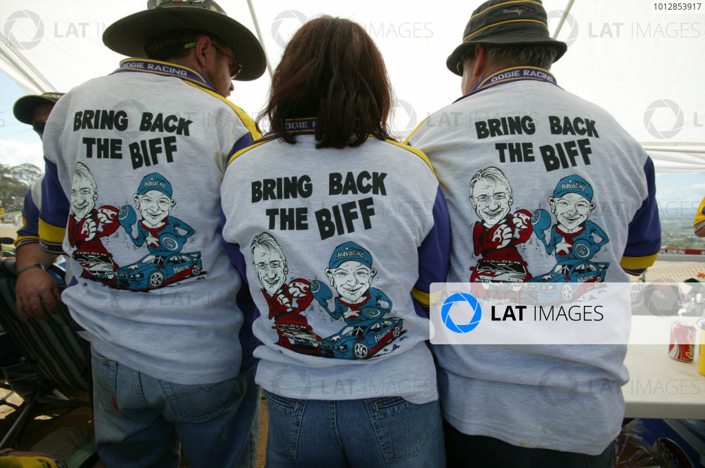 2004 Australian V8 Supercars. Bathurst 1000, Bathurst, Australia. 10th October 2004Three fans have a clear message on the back's of their shirts. Atmosphere.Photo: Mark Horsburgh/LAT Photographic Ref:Digital Image only
