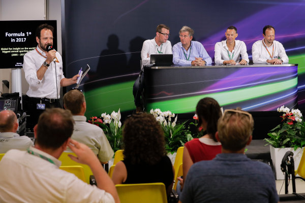Monte Carlo, Monaco. Friday 26 May 2017. Ian Burrows, Nigel Geach, Charles Bradley and Peter Bayer, FIA Secretary General for Motor Sport at the F1 Motorsport Network Global Fan Survey Press Conference. World Copyright: Zak Mauger/LAT Images ref: Digital Image _56I6637
