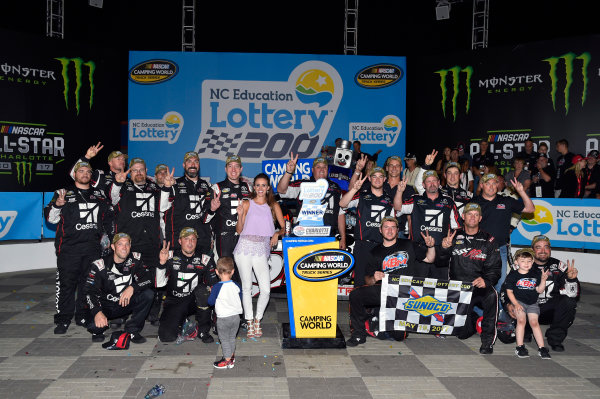 NASCAR Camping World Truck Series North Carolina Education Lottery 200 Charlotte Motor Speedway, Concord, NC USA Friday 19 May 2017 Kyle Busch, Cessna Toyota Tundra celebrates his win in Victory Lane World Copyright: Nigel Kinrade LAT Images ref: Digital Image 17CLT1nk04906