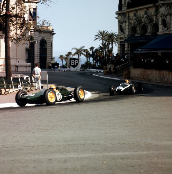 Monte Carlo, Monaco.23-26 May 1963.Trevor Taylor (Lotus 25 Climax) leads Tony Maggs (Cooper T66 Climax). They finished in 6th and 5th positions respectively.Ref-3/0914B.World Copyright - LAT Photographic