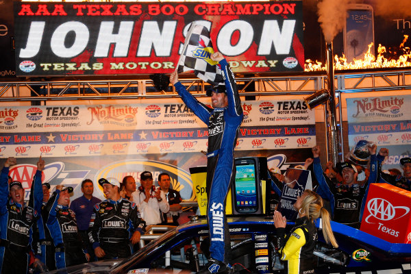 2-4 November, 2012, Fort Worth, Texas USA Jimmie Johnson celebrates in victory lane.(c)2012, Lesley Ann Miller LAT Photo USA