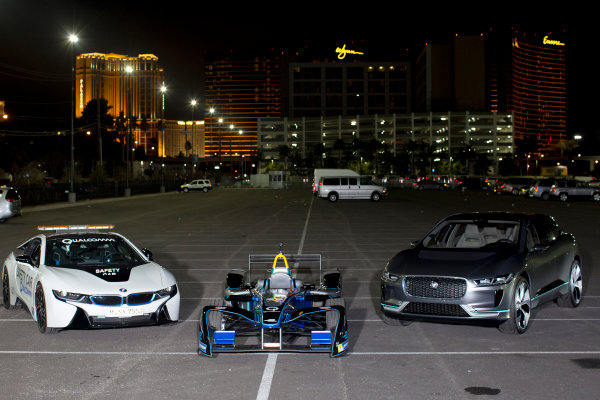 2016/2017 FIA Formula E Championship. Vegas eRace, Las Vegas, Nevada, United States of America. Thursday 5 January 2017. The BMW i8 safety-car, Spark DS Virgin and Jaguar I-Pace   SUV. Photo: Alastair Staley/LAT/Formula E ref: Digital Image 580A1313