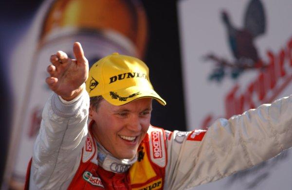 2005 DTM ChampionshipLausitz, Germany. 17th - 18th September 2005Race podium - winner Mattias Ekstrom (Abt Sportsline Audi A4) 1st position, celebrates.World Copyright: Andre Irlmeier / LAT Photographicref: Digital Image Only