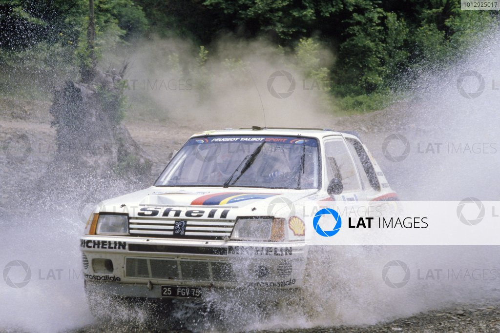 1985 World Rally Championship.Acropolis Rally, Greece. 27-30 May 1985.Timo Salonen/Seppo Harjanne (Peugeot 205 T16 E2), 1st position.World Copyright: LAT PhotographicRef: 35mm transparency 85RALLY06