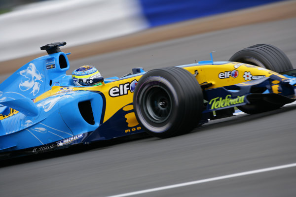 2005 British Grand Prix - Friday Practice,Silverstone, England. 8th July 2005 Giancarlo Fisichella, Renault R25, action World Copyright: Steve Etherington/LAT Photographic ref: 48mb Hi Res Digital Image