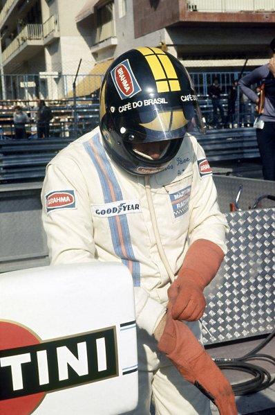 1975 Monaco Grand Prix.Monte Carlo, Monaco. 11 May 1975.Carlos Pace, Brabham BT44B-Ford, 3rd position, portrait, helmet.World Copyright: LAT PhotographicRef: 35mm transparency 75MON