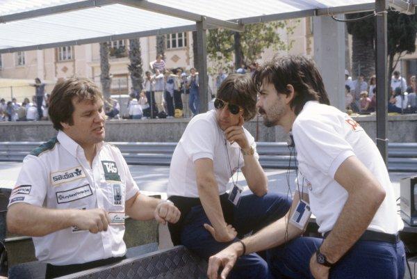 1981 Monaco Grand Prix.Monte Carlo, Monaco. 28-31 May 1981.Patrick Head (Williams designer), Herbie Blash (Brabham Team Manager) and Gordon Murray (Brabham designer). Portrait.World Copyright: LAT PhotographicRef: 35mm transparency 81MON72