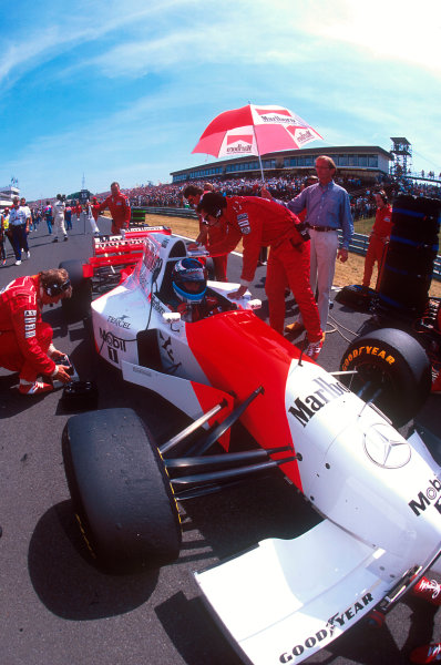 Hungaroring, Hungary.11-13 August 1995.Mika Hakkinen (McLaren MP4/10B Mercedes). He exited the race due to an engine failureRef-95 HUN 14.World Copyright - LAT Photographic