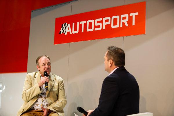 Autosport International Exhibition. National Exhibition Centre, Birmingham, UK. Thursday 11th January 2017. Bruce Wood of Cosworth talks to Henry-Hope Frost on the Autosport stage,World Copyright: Joe Portlock/LAT Images Ref: _U9I9859
