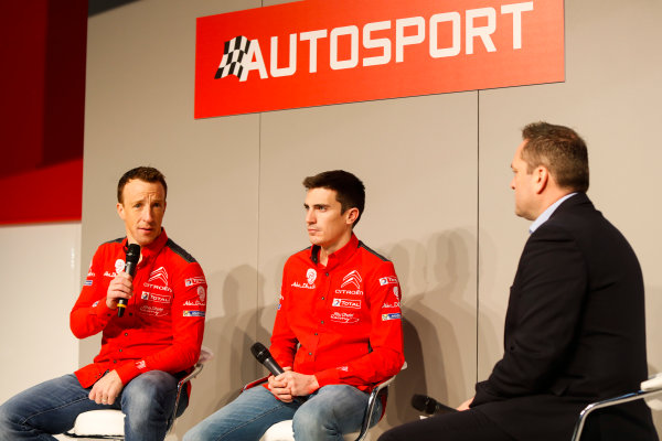 Autosport International Exhibition. National Exhibition Centre, Birmingham, UK. Friday 12th January 2018. Kris Meeke and Craig Breen of Citroen talk to Henry Hope-Frost on the Autosport Stage. World Copyright: Joe Portlock/LAT Images Ref: _U9I0366