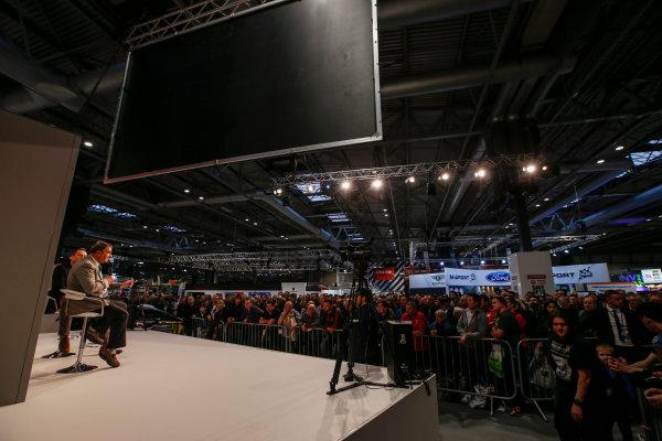 Autosport International Exhibition. National Exhibition Centre, Birmingham, UK. Sunday 14th January 2018. Nigel Mansell talks to Henry Hope-Frost on the Autosport Stage. .World Copyright: Joe Portlock/LAT Images Ref: _L5R0538