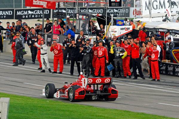 1-2 June, 2012, Detroit, Michigan, USAWinner Scott Dixon (#9) rolls past his crew while on his way to Victory Lane.(c)2012, F. Peirce WilliamsLAT Photo USA