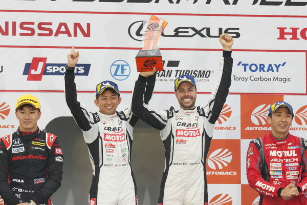 Round 7 GT500 Winner Kohei Hirate & Frederic Makowiecki, Craftsports Motul NDDP Racing with B-Max Nissan GT-R NISMO, celebrate on the podium