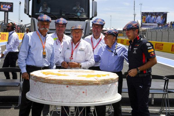 Jackie Stewart Birthday photograph with team principles