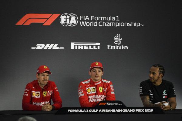 Sebastian Vettel, Ferrari, Charles Leclerc, Ferrari and Lewis Hamilton, Mercedes AMG F1 in Parc Ferme