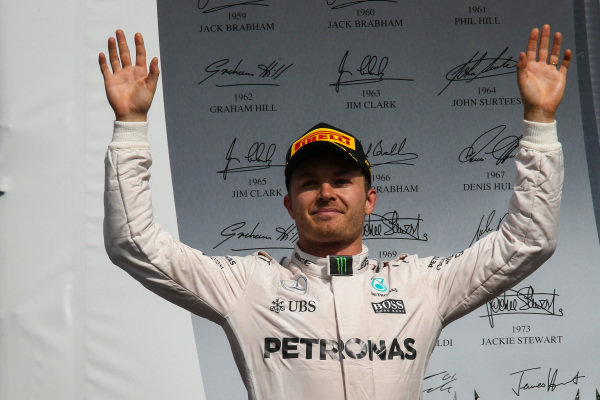 Nico Rosberg (GER) Mercedes AMG F1 celebrates on the podium at Formula One World Championship, Rd19, Mexican Grand Prix, Race, Circuit Hermanos Rodriguez, Mexico City, Mexico, Sunday 30 October 2016.