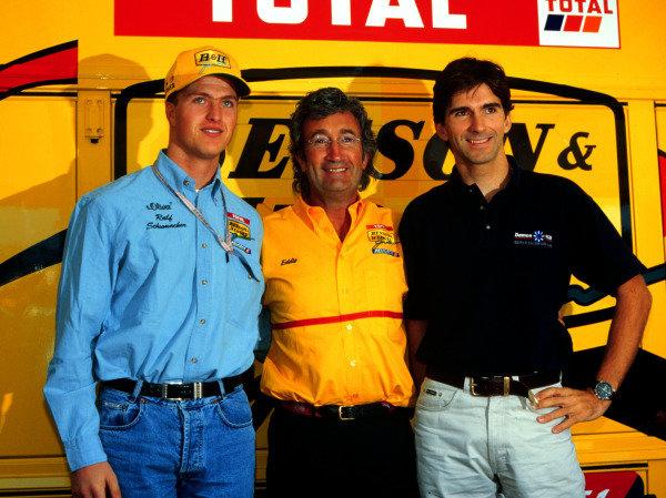1997 Austrian Grand Prix.A1-Ring, Zeltweg, Austria.19-21 September 1997.Eddie Jordan announces the Jordan Grand Prix line up for next season: Ralf Schumacher and Damon Hill.World Copyright - LAT Photographic