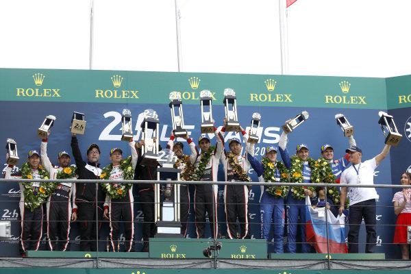Podium: Race winner #8 Toyota Gazoo Racing Toyota TS050: Sébastien Buemi, Kazuki Nakajima, Fernando Alonso, second place #7 Toyota Gazoo Racing Toyota TS050: Mike Conway, Kamui Kobayashi, Jose Maria Lopez, third place #11 SMP Racing BR Engineering BR1: Mikhail Aleshin, Vitaly Petrov, Stoffel Vandoorne.