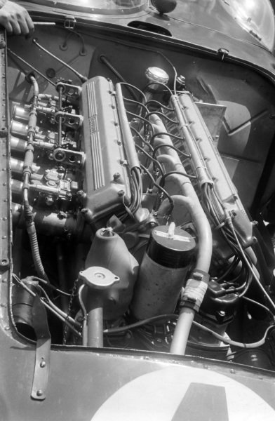 The engine in Eugenio Castellotti / Count Paolo Marzotto's Scuderia Ferrari, Ferrari 121 LM.