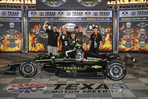 Josef Newgarden, Team Penske Chevrolet celebrates with  Fitzgerald guests in victory lane