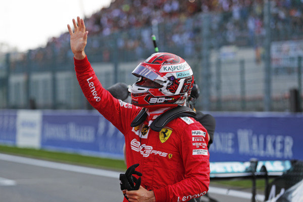 Charles Leclerc, Ferrari, celebrates pole position on the gridPole winner Charles Leclerc, Ferrari, celebrates