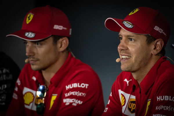 Sebastian Vettel, Ferrari and Charles Leclerc, Ferrari in the Press Conference