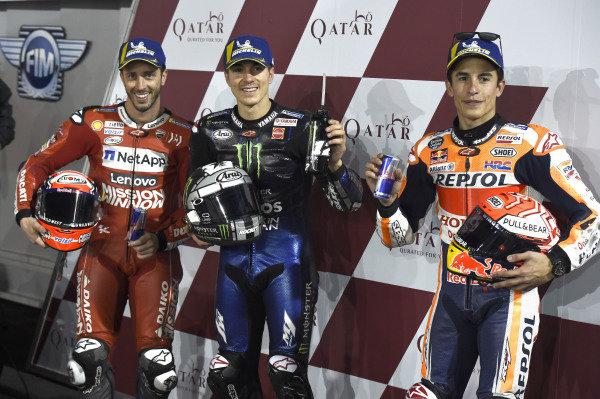 Andrea Dovizioso, Ducati Team, Maverick Vinales, Yamaha Factory Racing, Marc Marquez, Repsol Honda Team.