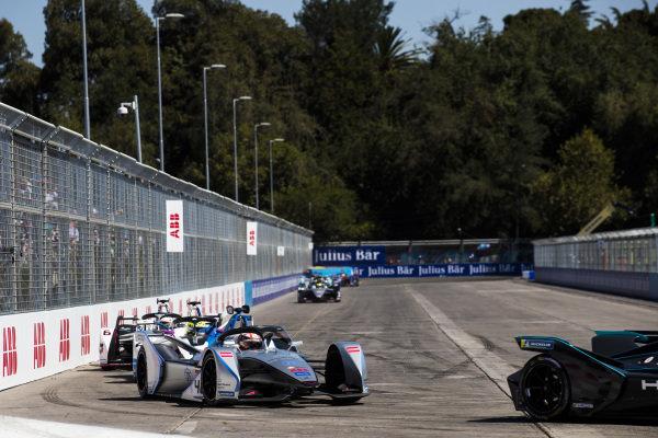 Edoardo Mortara (CHE) Venturi Formula E, Venturi VFE05 leads Alexander Sims (GBR) BMW I Andretti Motorsports, BMW iFE.18 and Maximilian Günther (DEU), Dragon Racing, Penske EV-3