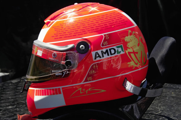Michael Schumacher's last helmet with all 91 victories painted on it.