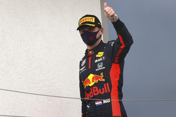 Max Verstappen, Red Bull Racing, on the podium