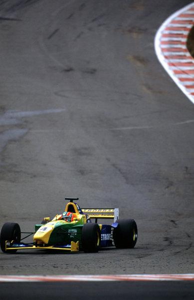 2001 F3000 ChampionshipSpa-Francorchamps, Belgium. 1st September 2001.Race winner Ricardo Sperafico (Petrobras Jnr), action.World Copyright: Lorenzo Bellanca/LAT Photographicref: 35mm Image A05