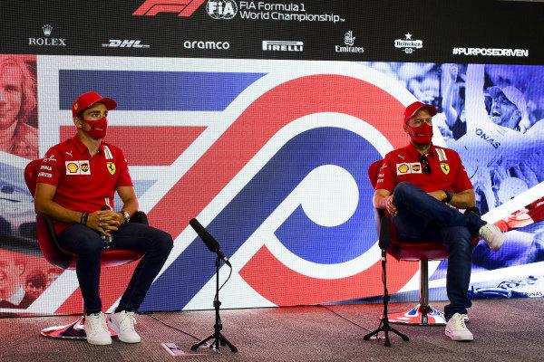 Charles Leclerc, Ferrari and Sebastian Vettel, Ferrari in the press conference