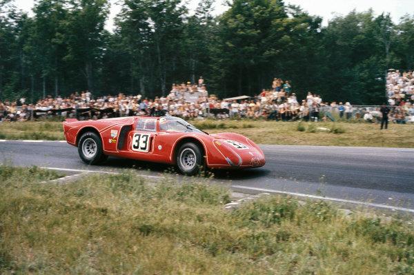 Watkins Glen, New York, USA. 14th July 1968. Rd 8.Horst Kwech/John Martino (Alfa Romeo T33/2), retired, action. World Copyright: LAT Photographic.Ref:  68WG6HR18.
