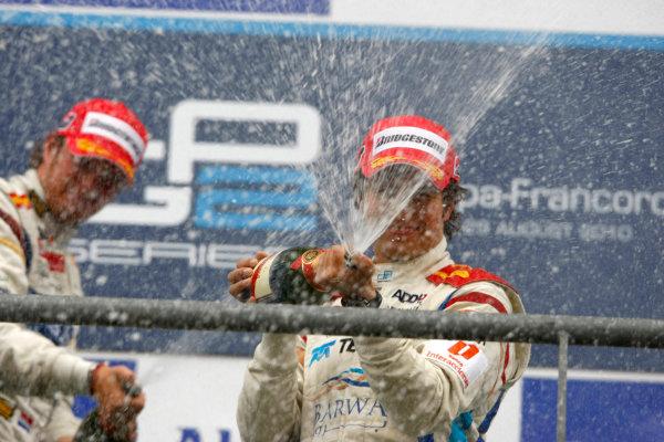 Spa - Francorchamps, Spa, Belgium. 29th August.Sunday Race.Sergio Perez (MEX, Barwa Addax Team) celebrates his victory on the podium with Giedo Van der Garde (NED, Barwa Addax Team). Photo: Charles Coates/GP2 Media Service.Ref: __26Y5788 jpg
