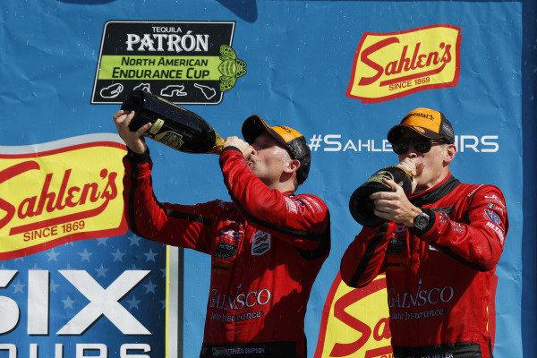 #99 JDC/Miller Motorsports ORECA 07, P: Stephen Simpson, Mikhail Goikhberg, Chris Miller, podium, champagne