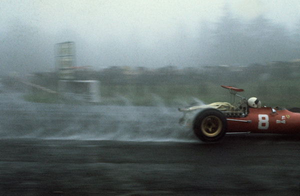 Nurburgring, Germany. 2nd - 4th August 1968. RD8.Chris Amon (Ferrari 312), retired, action.World Copyright: LAT Photographic.Ref: 35mm Colour Transparency.