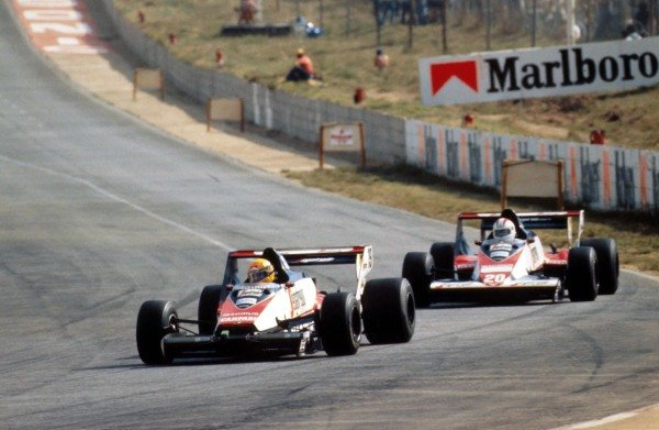 Ayrton Senna (BRA), Toleman TG183B, 6th, leads teamate Johnny Cecotto (VEN), DNF South African GP,  Kyalami, 7 April 1984