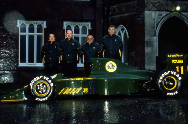 (L to R): Clive Chapman (GBR); Peter Collins (AUS) Lotus Team Manager; Horst Schubel (GER) Investor; and Peter Wright (GBR) Team Lotus Technical Director, with the Lotus 102B.Lotus Formula One Team, Ketteringham Hall, Norfolk, England, 1991.