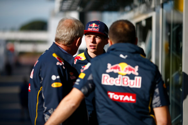 Circuit de Catalunya, Barcelona, Spain.  Friday 13 May 2016. Max Verstappen, Red Bull speaks to Dr. Helmut Marko in the Paddock.  World Copyright: Andrew Hone/LAT Photographic ref: Digital Image _ONZ9713