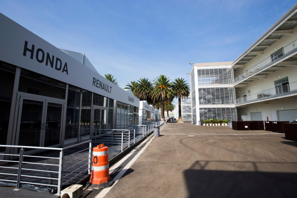Autodromo Hermanos Rodriguez, Mexico City, Mexico. Tuesday 20 October 2015. Paddock hospitality units. World Copyright: Steven Tee/LAT Photographic. ref: Digital Image _X0W3818